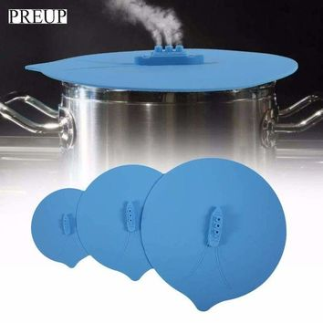 DCCKH0D 3Pcs/Set Blue Silicone Steam Ship Pot Lids Pressure Cooker Seal Slicone Cover For Pan Silicone Spill Stopper Lid Drop Shipping