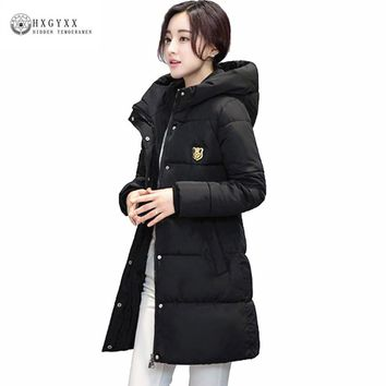 Women Winter Coat 2017 Army Green Quilted Jacket Thick Warm Hooded Jackets Down Cotton Padded Parka Long Female Outwear Xy507