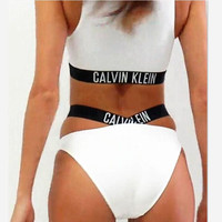 Calvin Klein Fashion edge black letters print high neck white bottom open two piece bikini