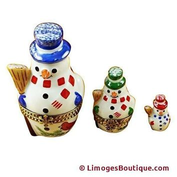 NESTING SNOWMAN SET LIMOGES BOX