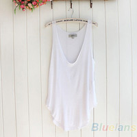 Women's Summer Trendy Loose Sleeveless V-Neck Vest Tank Tops Tee Shirt 5 Colors  1CY2