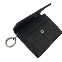 Michael Kors Jet Travel PVC Signature Credit Card Case ID Key Holder Wallet in Black