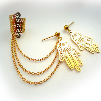 Golden Filigree Hamsa Hand Ear Cuff Set