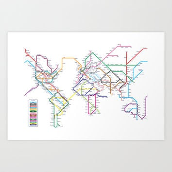 World Metro Subway Map Art Print by ArtPause