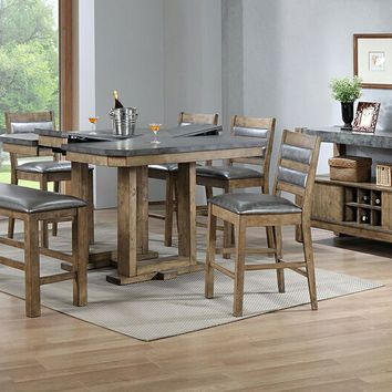 6 pc Barrister II collection rustic distressed natural wood finish counter height dining table set with bench