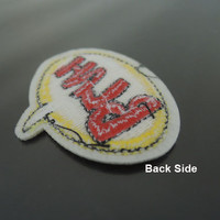 BLAH Letter Patches - Iron on or Sewing on Patch BLAH Patches Red Yellow Patch Embellishments Embroidery fonts