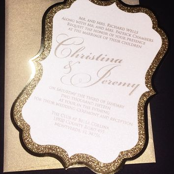 Gold Glitter Wedding Invitation with Foil - CHRISTINA VERSION