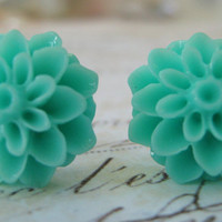Aqua Turquoise Resin Chrysanthemum Sterling Silver by leprintemps
