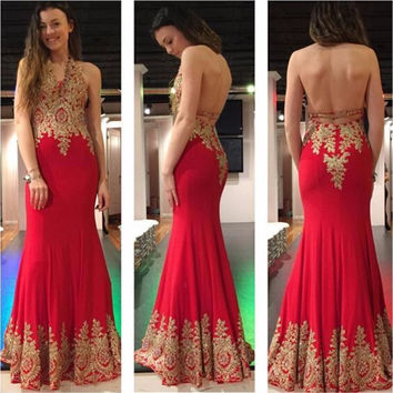 Robe De Soiree 2017 Long Mermaid Prom Dresses Red Lace Appliques Halter Floor Length Formal Party Evening Gown Vestido De Festa