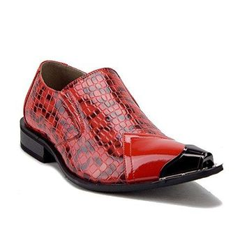 Men's Urban 26926 Metal Tip Faux Snake Skin Pointed Loafers Dress Shoes