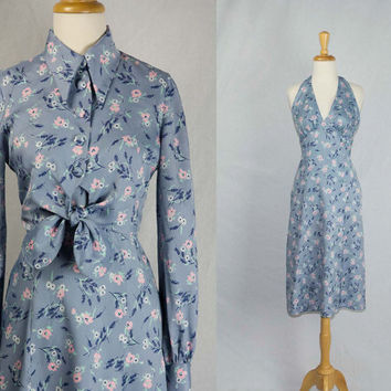 Vintage 1970's Halter Dress and Tie Cropped Jacket Set Blue & Pink Floral