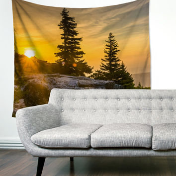 Evergreen Sunset Mountains Boho Wanderlust Unique Dorm Home Decor Wall Art Tapestry