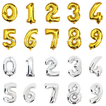 1pcs 16 inch 0-9 Gold Silver Number Foil Balloons Digit Helium Ballons Birthday Party Wedding Decor Air Baloons Party Supplies