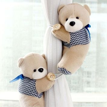 1Pair Bear Pattern Window Curtain Hook Tieback Cute Curtain Buckle Hangers Belt Cute Home Curtain Accessory