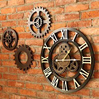 Handmade 3D retro rustic decorative luxury art big gear wooden vintage large wall clock on the wall for gift