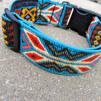 Navajo Spirit 15 wide LARGE dog collar in bold by FunkyMutt