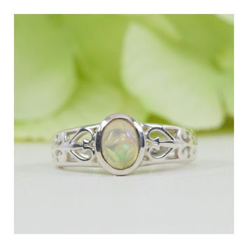 Filigree Antique Style Natural Opal Ring in Sterling Silver