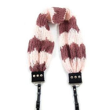 Cozy Chevron Maroon Scarf Camera Strap - Capturing Couture - CASCARF-CCMN