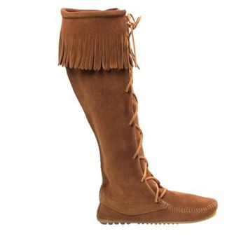 Minnetonka Knee High Moccasin - Brown Suede Fringe Boot