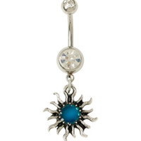 14G Steel Tribal Sun Mood Navel Barbell