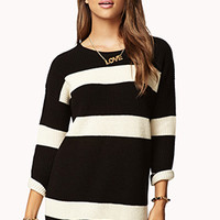 FOREVER 21 Striped Boyfriend Sweater Black/Cream Medium