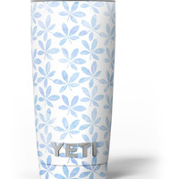 Blue Watercolor Leaves Yeti Rambler Skin Kit