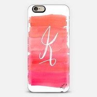 Pink White Brush Strokes Custom Slim Phone Case with Initial
