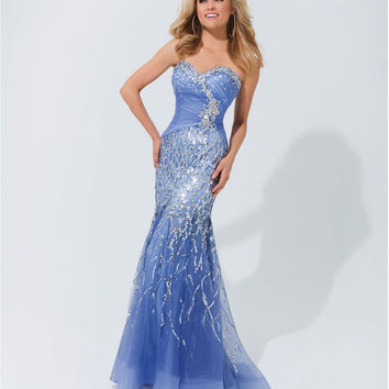(PRE-ORDER) Tony Bowls 2014 Prom Dresses - Wedgewood Illusion Strapless Prom Gown
