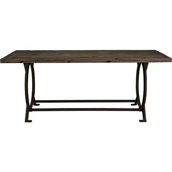 Effuse Wood Top Dining Table Brown Pine & Cast Iron