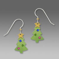 Sienna Sky Earrings - Christmas Tree with Gold Star and Rhinestones