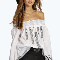 Lauren All Over Embroidered Woven Gypsy Top