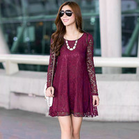 Long Sleeve Floral Lace Mini Dress