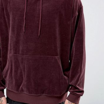 ASOS Oversized Velour Hoodie In Burgundy at asos.com