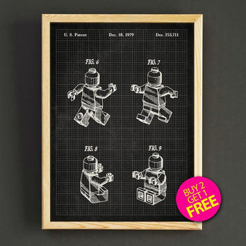 Lego Patent Print Lego Mini Figure Blueprint Poster House Wear Wall Art Decor Gift Linen Print - Buy 2 Get FREE -313s2g