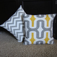 "Snowed In Super Sale - Set of 2 Premier Print Pillow Covers 16"" x 16""- One Gray Yellow (Embrace) and One Gray White Chevron"