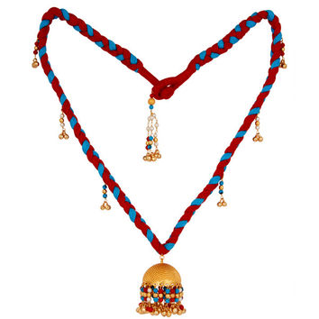 18K Gold Plated Turquoise Coral and White Pearl Indian Traditional Necklace