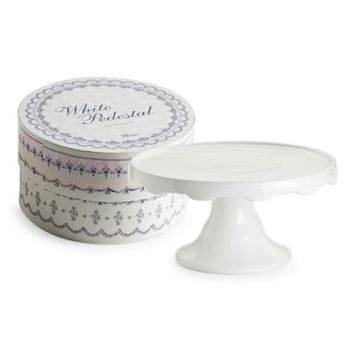 Medium White Pedestal Cake Stand in Gift Box 24834