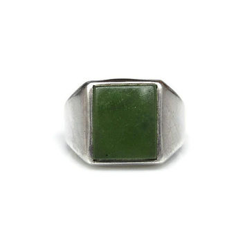 Vargas Ring, Sterling Silver, Green Chrysoprase, Modernist Ring, Vintage Jewelry, Size 8.75