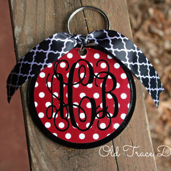 Monogrammed Acrylic Keychain or Christmas Ornament Personalized & Custom - Choose Polka Dot, Chevron, or Tiger Stripe