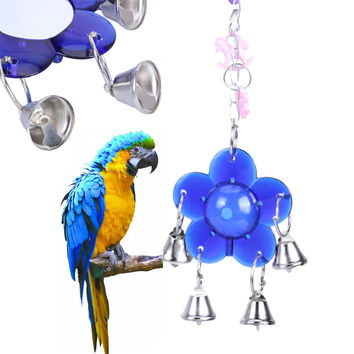 New Parrot Toys Bird Squirrel Acrylic Cage Hanging Toy Blue Flower Decorative Pendant Bell Toys Pet Bird Product