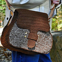 Crochet Leather Purse - Shoulder Bag with Leather Interior and Hand Tooled Adjustable Strap