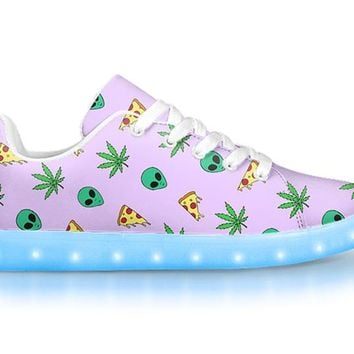 Alien, Pizza, Weed Tank - APP Controlled Low Top LED Shoes