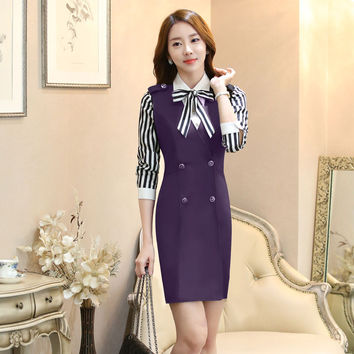 Novelty Purple 2016 Spring Autumn Professional Business Women Suits With Blouses And Dress Office Outfits Formal Blazers Set