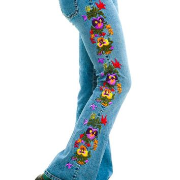 Vintage Y2K Peace Bb Floral Embroidered Flares - S