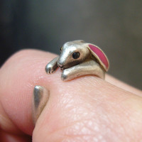 Bunny Ring, Rabbit Ring, Antique ring, Animal Jewelry, Pink rabbit