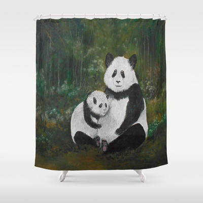 Panda Momma and Baby Shower Curtain by RokinRonda