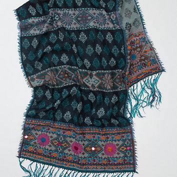 Suede-Fringed Scarf