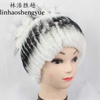 Linhaoshengyue fashion  real fur  rex rabbit fur women hat with fox fur  women cap  winter warm freeshipping