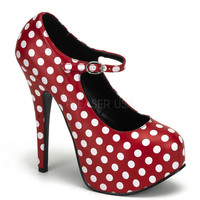Bordello Teeze Red Polka Dot Mary Jane Platform