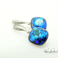 Bermuda Blue Earrings Swarovski Crystal Earrings Cubic Zirconia Earrings Cushion Cut Earrings Bridesmaids Gift Bridal Earrings